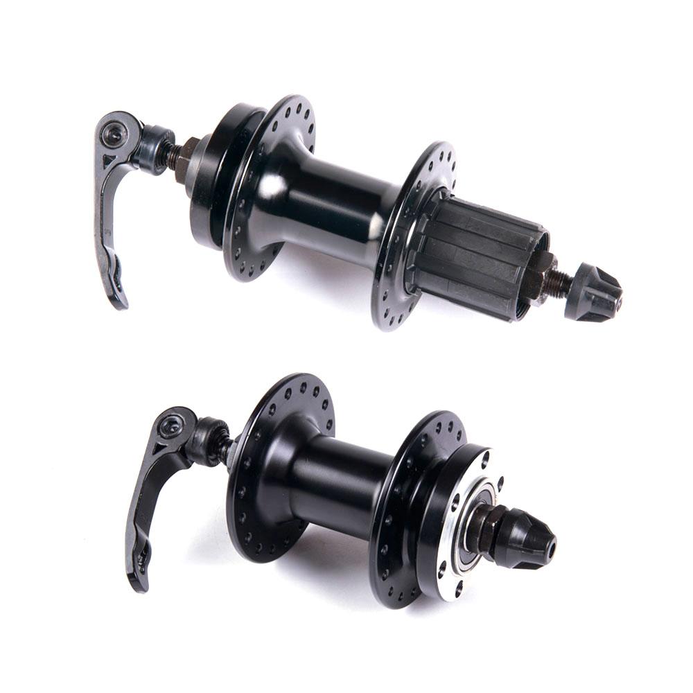Cubo gara alumínio dianteiro e traseiro com rolamentos preto com blocagem para freio a disco 36f
