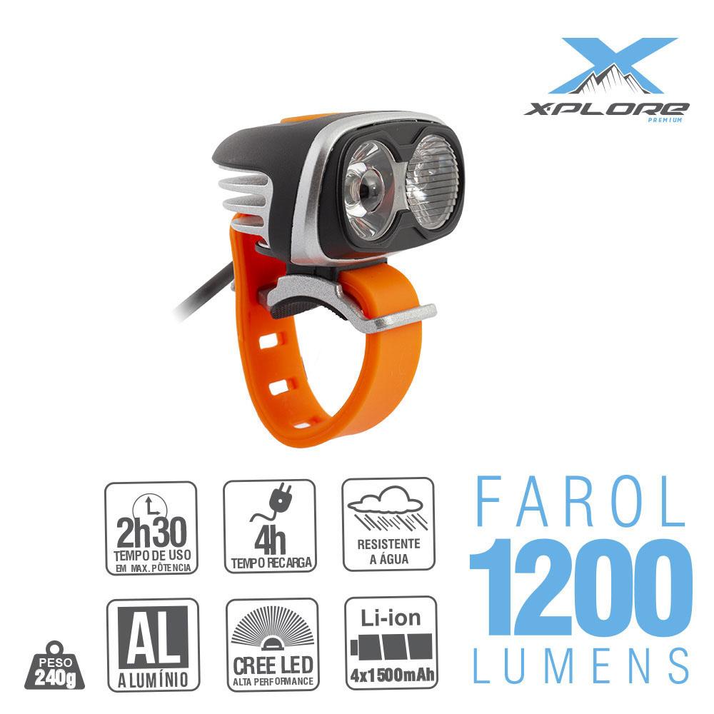 Farol 2xled cree 1200 lumens rec c/bat