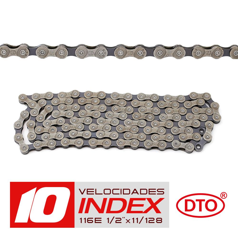 Corrente 10 velocidades index 1/2x11/128 116 elos sólidos de pinos sólidos em polybag dto
