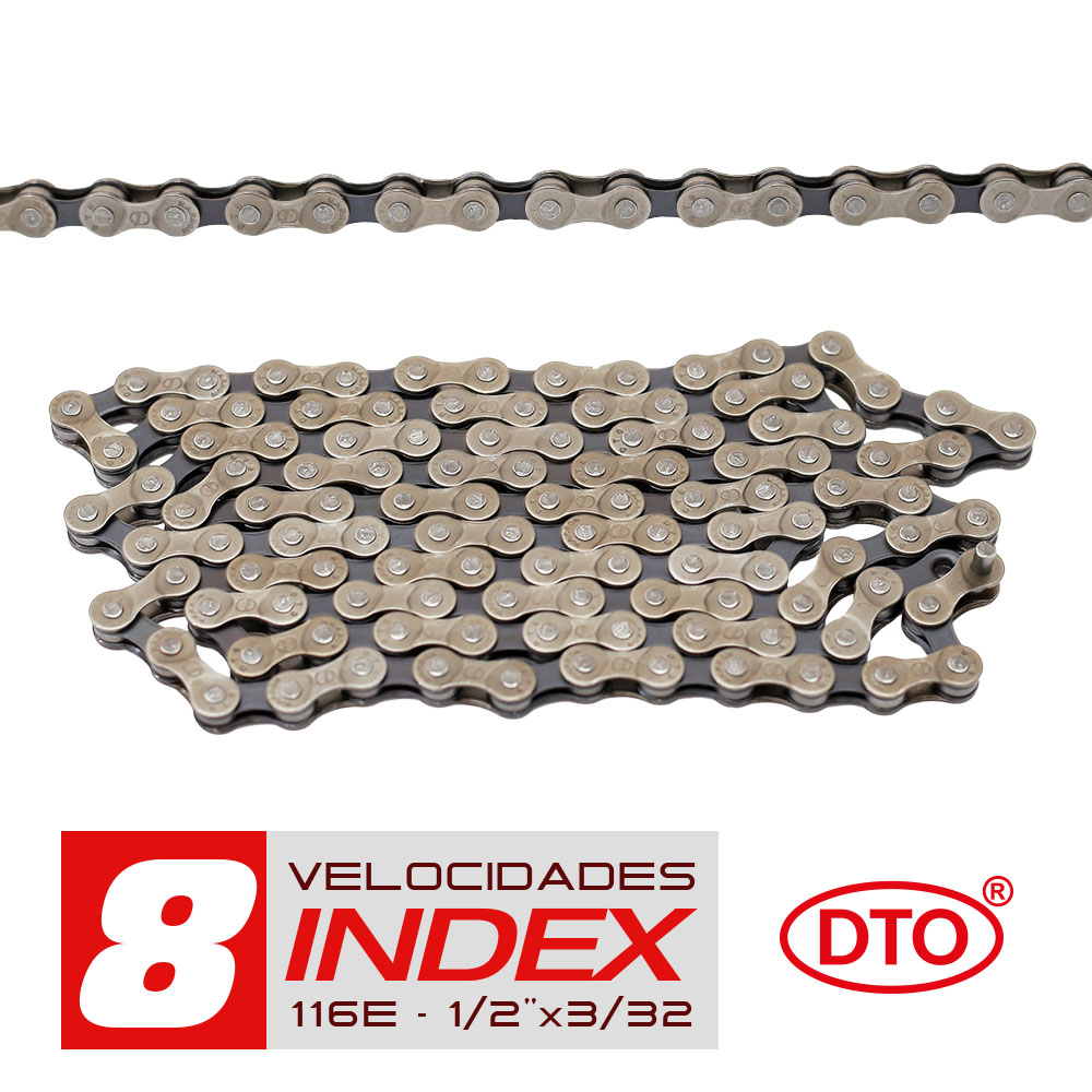 Corrente 8 velocidades index 1/2x3/32 116 elos sólidos de pinos sólidos em polybag dto